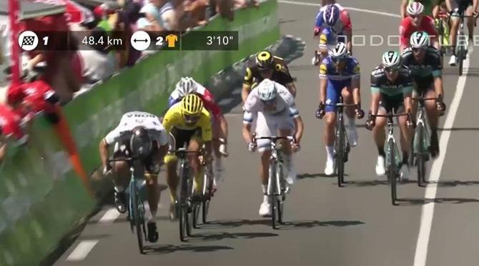 Video: Peter Sagan víťazom 2. etapy - oblečie si žltý dres lídra pretekov a je aj na čele bodovačky