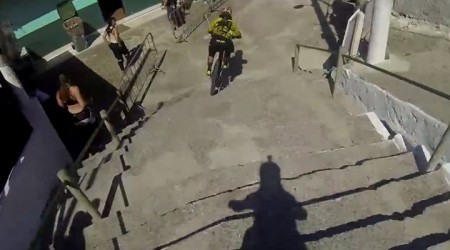 Prvá treningová jazda Filipa Polca na trati City downhill world tour 2014