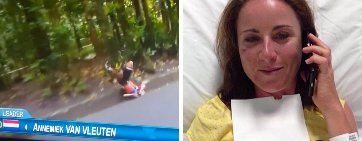 Hrozivý pád Holanďanky Annemiek van Vleutenovej so zlomeninu chrbtice na troch miestach