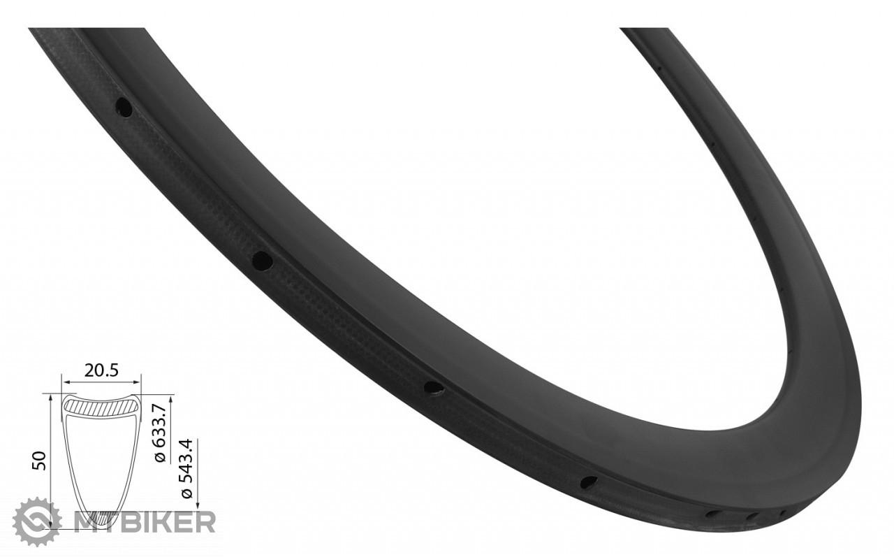 Ráfik Force Road Carbon, 50 mm, 24d, galuskový, vonkajšie niple, čierny, matný