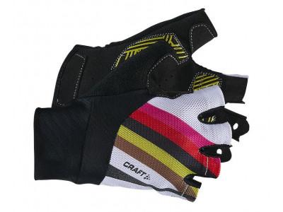 Rukavice Craft Rouleur - XXS, čierne s farebnými pásikmi